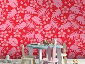 Κόκκινο μοτίβο ζούγκλας, Μίκυ Μάους! Παιδικά Ταπετσαρίες Τοίχου 100 x 100 cm