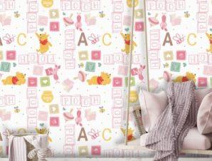 Ροζ μοτίβο με το Winnie! Παιδικά Ταπετσαρίες Τοίχου 100 x 100 cm