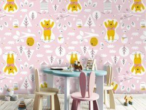 Pink Pattern, Winnie the Pooh Παιδικά Ταπετσαρίες Τοίχου 100 x 100 cm