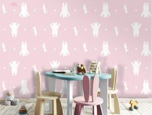 Pink White Pattern, Winnie the Pooh Παιδικά Ταπετσαρίες Τοίχου 100 x 100 cm
