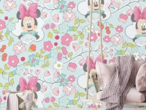 Minnie Mouse among the flowers Παιδικά Ταπετσαρίες Τοίχου 100 x 100 cm
