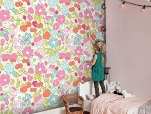 Μοτίβο με λουλουδάκια, Minnie Mouse Παιδικά Ταπετσαρίες Τοίχου 100 x 100 cm