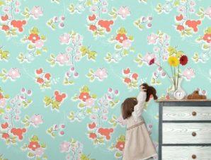 Μπλέ μοτίβο με την Μίνι Μάους! Παιδικά Ταπετσαρίες Τοίχου 100 x 100 cm