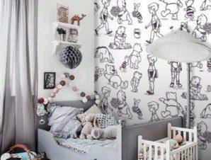 Winnie the Pooh, Black & White Παιδικά Ταπετσαρίες Τοίχου 100 x 100 cm
