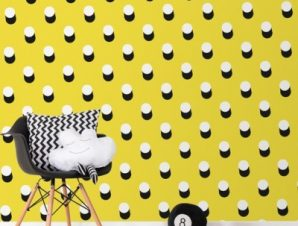 Κίτρινο Μοτίβο με άσπρες βούλες για την παρέα του Mickey Mouse Παιδικά Ταπετσαρίες Τοίχου 100 x 100 cm