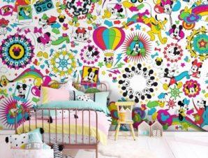 Μοτίβο με ζωγραφιές του Mickey! Παιδικά Ταπετσαρίες Τοίχου 85 x 119 cm