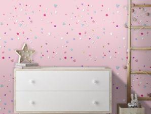 Μοτίβο με κομφετί, Minnie Mouse! Παιδικά Ταπετσαρίες Τοίχου 100 x 100 cm