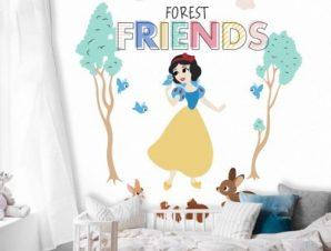 Φίλοι του δάσους, Χιονάτη! Παιδικά Ταπετσαρίες Τοίχου 100 x 100 cm