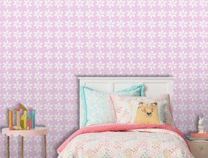 Ροζ μοτίβο με λουλούδια, Mickey Mouse! Παιδικά Ταπετσαρίες Τοίχου 100 x 100 cm