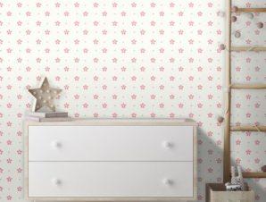 Μοτίβο με ροζ λουλούδια! Παιδικά Ταπετσαρίες Τοίχου 100 x 100 cm